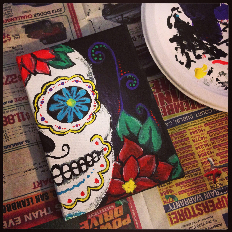 Pin By Michele Landini On Dia De Los Muertos Sugar Skull Painting Sugar Skull Art Painting Sugar Skull Artwork