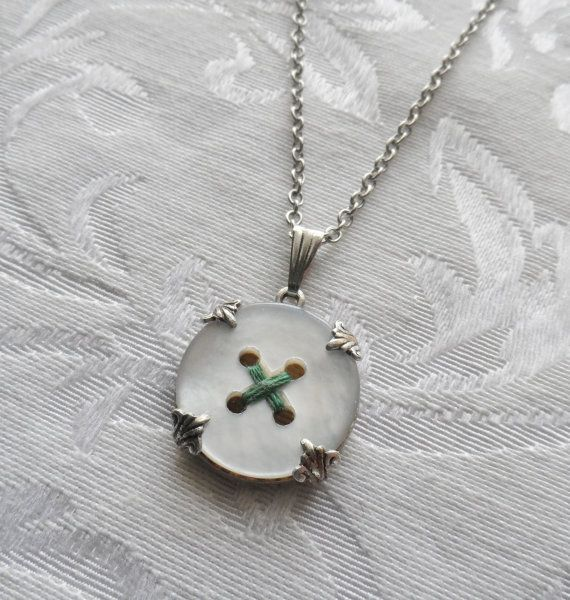 Vintage Mother of Pearl Button Necklace Hugs by TimelessTrinkets