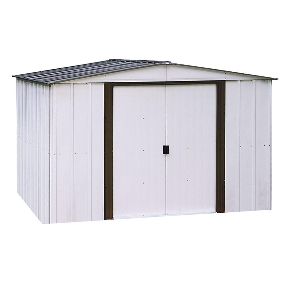 Arrow Newport 10 Ft X 12 Ft 2 Tone Eggshell And Coffee Galvanized Metal Shed With Galvanized Steel Floor Frame Kit Np101267 The Home Depot Steel Sheds Metal Storage Sheds Metal Shed
