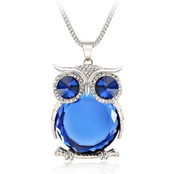 Blue EDTO Heart Crystal Rhinestone Silver Chain Pendant,Fashion WomenNecklace Jewelry