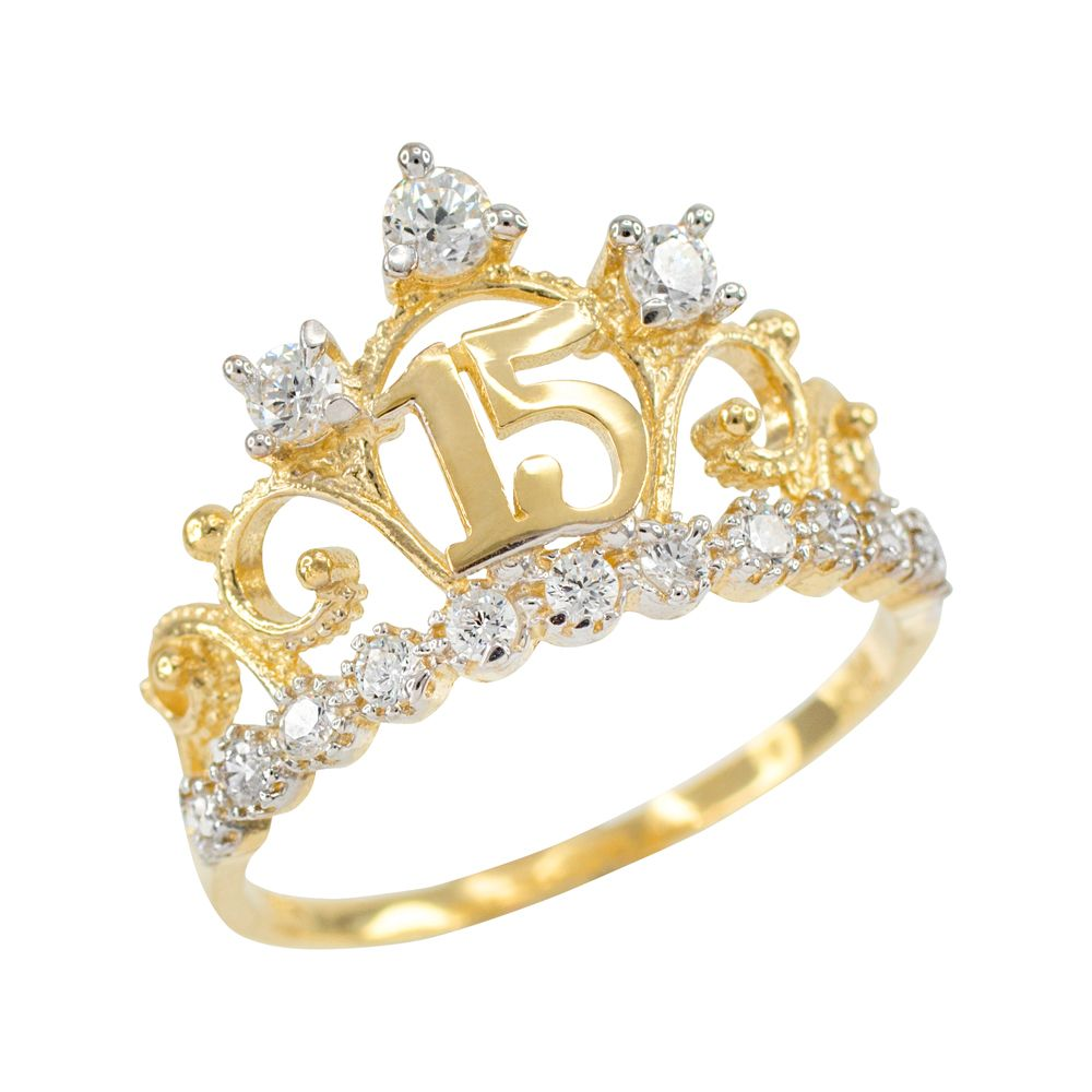 Yellow Gold Quinceanera 15 Anos Crown CZ Ring #fiestade15años