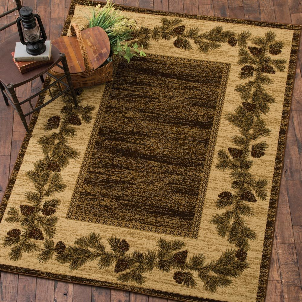 Scenic Mountain Rug 8 X 10 Black Forest Decor Rugs Rustic