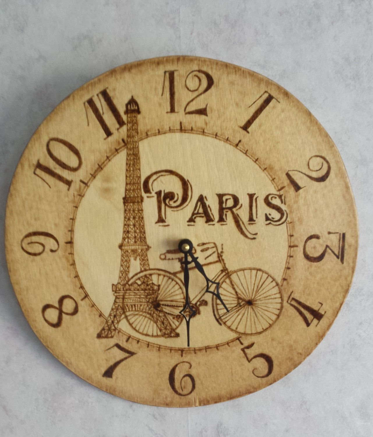 Paris Wall Clock Pyrography Art France Eiffel Tower | Pyrography
