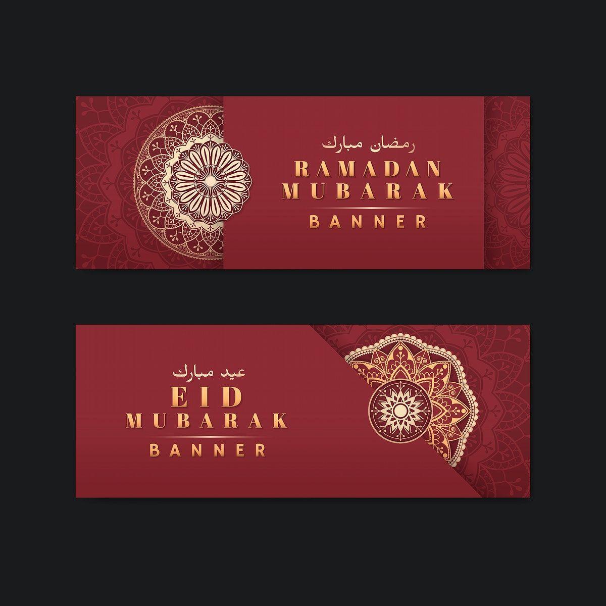 Download Premium Vector Of Red And Gold Eid Mubarak Banners Vector Set Eid Mubarak Banner Vector Eid Mubarak Banner