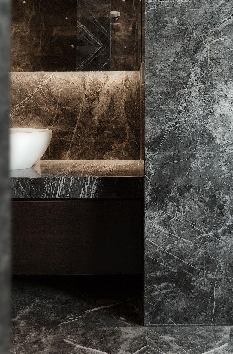 Badezimmer ideen schwarz black marble  spa downstairs if not a grey limestone  wood
