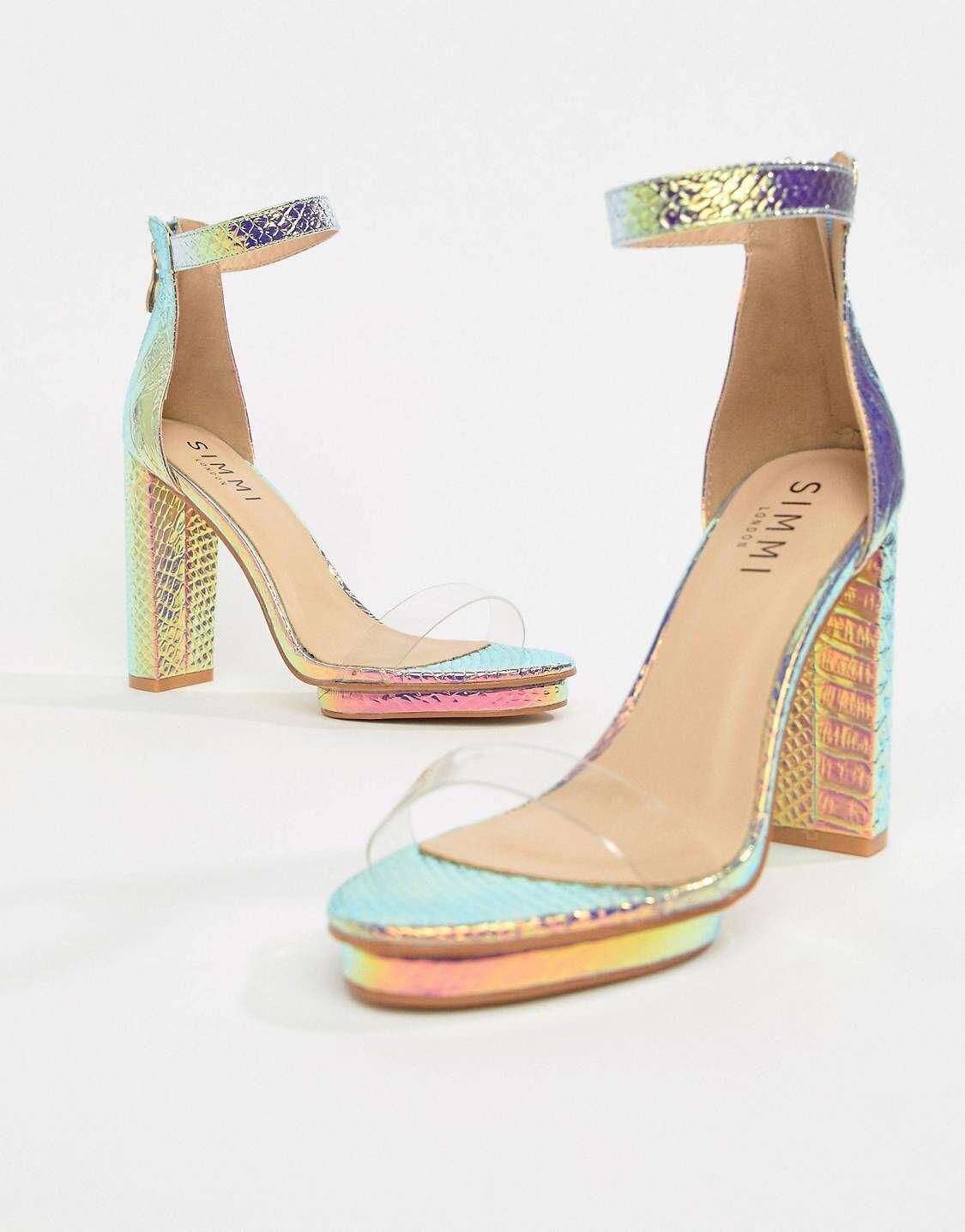 f98bf26ebad Simmi London Meena rainbow snake clear detail block heeled sandals ...