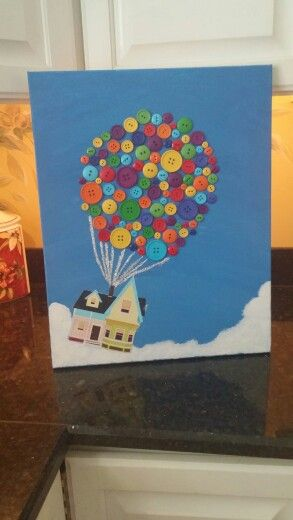 Disney Up Canvas With Buttons As The Balloons Disney Button Art Disney Art Diy Disney Canvas Art