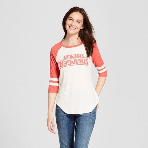 d25c621a Women's Stranger Things 3/4 Sleeve Upside Down Raglan Graphic T-Shirt ( Juniors