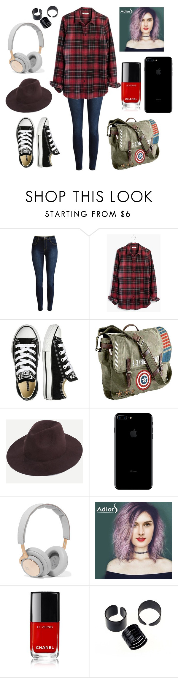"""""""Hey!"""" by pinkdhankar ❤ liked on Polyvore featuring Madewell, Converse, Marvel and B&O Play"""