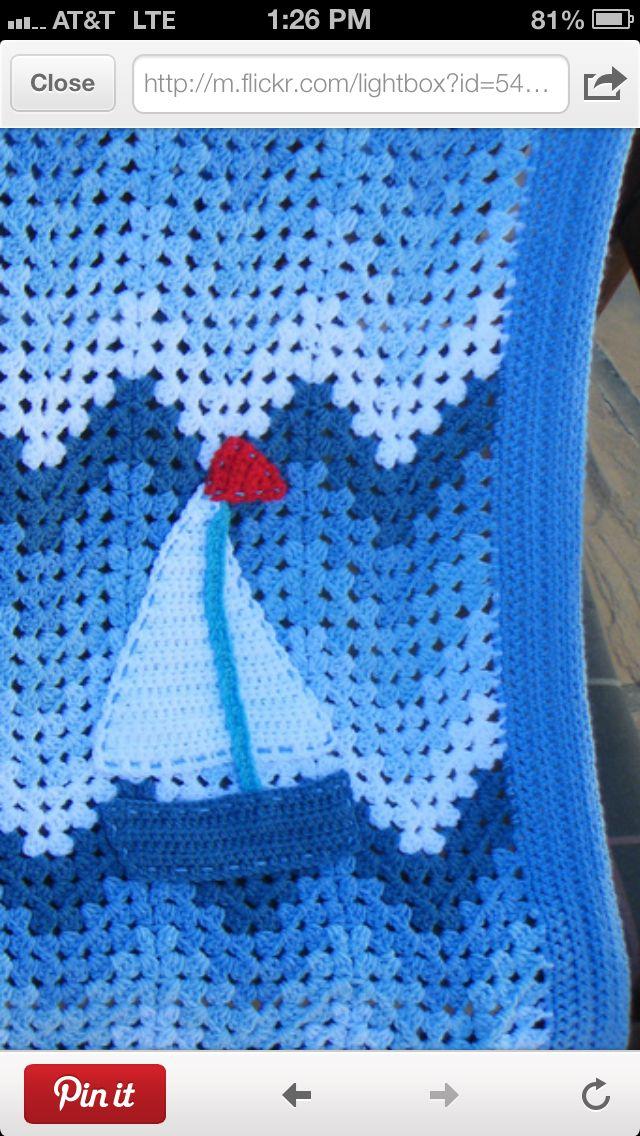 Crochet Nautical Baby Afghan   crochet blankets   Baby ...