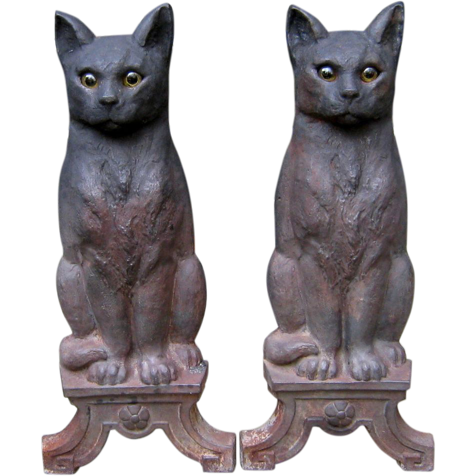 Antique Cast Iron Cat Andirons Glass Eyes Signed Howes