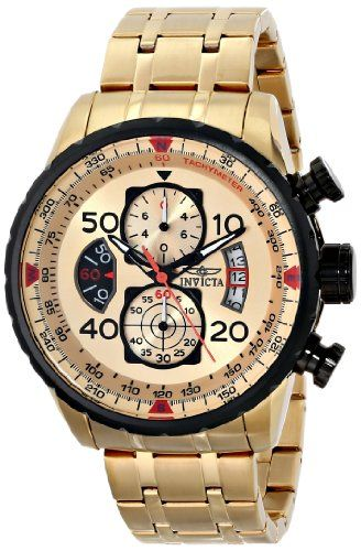 eb1386663cc Invicta Men s 17205 AVIATOR Gold Ion-Plated Watch Has Japanese quarts  movement mechanism. Is water resistant to 100 meters and suitable for  swimming or ...
