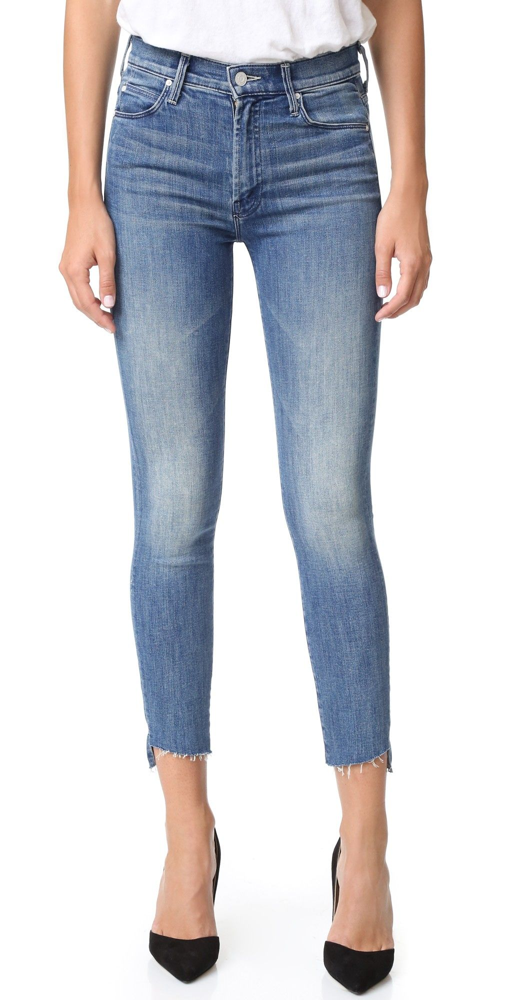 0efc37d012a97 MOTHER The Stunner Zip Ankle Step Fray Jeans