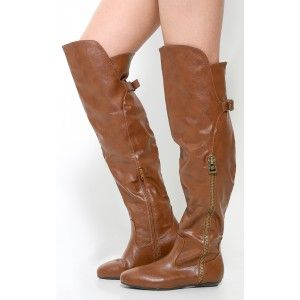 """Bamboo Zoria-64 zipper otk boots will update your fall wardrobe! This over the knee boot features an almond toe, leatherette upper with a decorative side zipper and top buckle accent. Finished with a side zipper and .5"""" flat heel approx. that is sure to make a splash."""