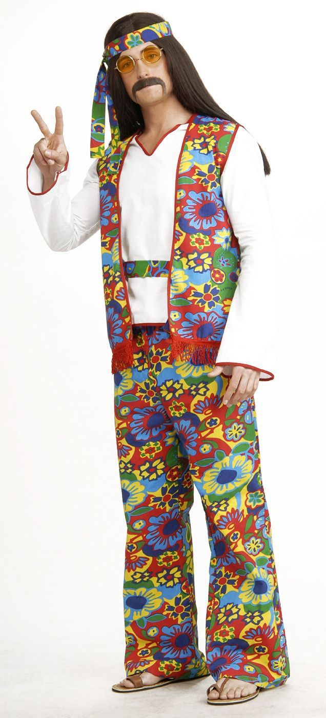 Youu0027ll be looking groovy in this Adult Hippie Costume!  sc 1 st  Pinterest & 60u0027s 70u0027s Hippie Dippie Man Costume Adult | Pinterest | Hippie ...