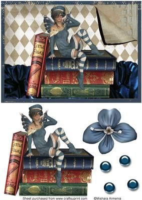 Mia2 on Craftsuprint designed by Mishara Armenia - A very cute and playful book worm fairy girl - Now available for download!