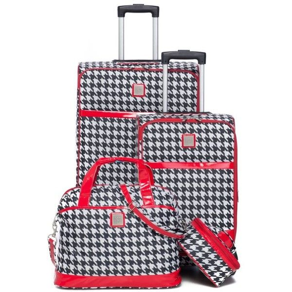 New Directions Black Houndstooth 4-Piece Houndstooth Luggage Set ($160) ❤ liked on Polyvore featuring bags, luggage and black houndstooth