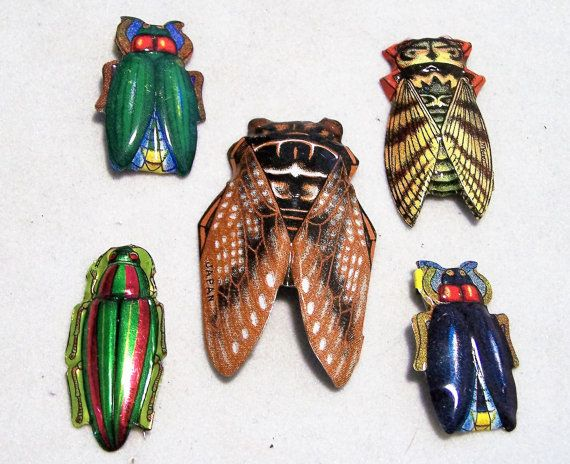 5 Mid Century Japan Tin Litho Print Bug Pin by GretelsTreasures