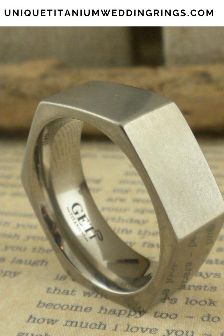Hexagon Profile Titanium Wedding Ring Unique Titanium Wedding Rings In 2020 Titanium Wedding Rings Black Zirconium Wedding Ring Hexagon Wedding Ring