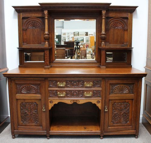 Antique Sideboard With Mirror Oak Victorian