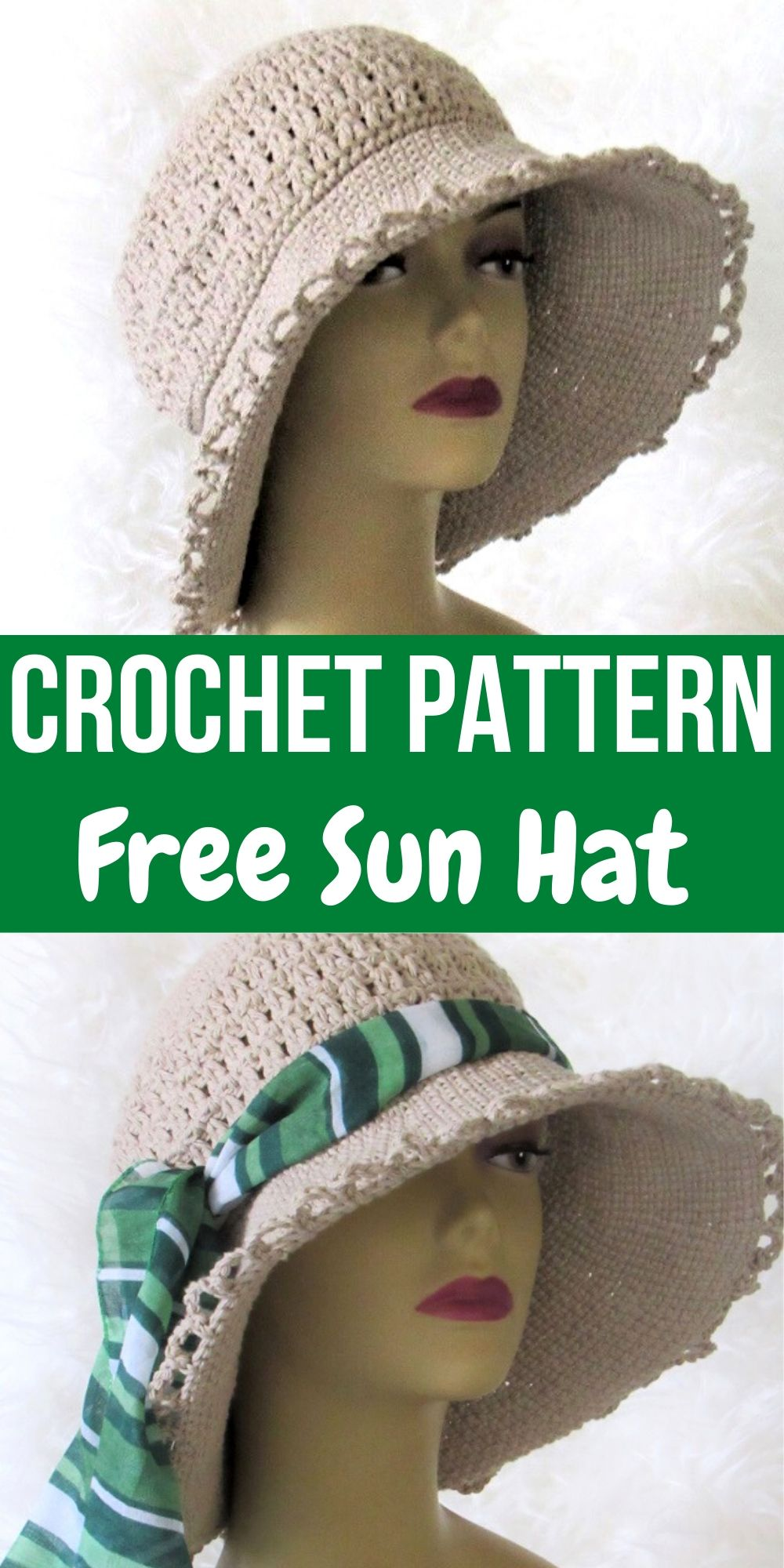 Welcome summer in this retro-style crochet sun hat. The free pattern is easy and great for beginners. It will make a perfect beach hat. #crochetsunhatfreepattern, #crochetsunhatwoman