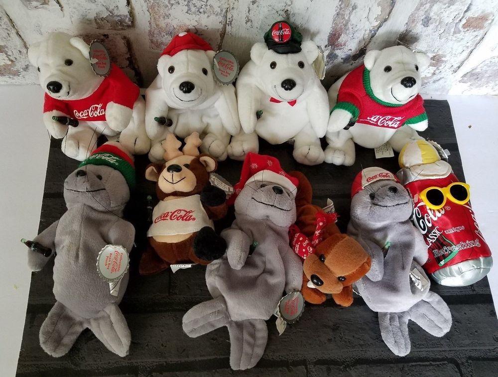 fed420cc0bf Coca Cola Bean Bag Plush Toys lot of 10 Polar Bear Seal Reindeer Walrus   Cocacola