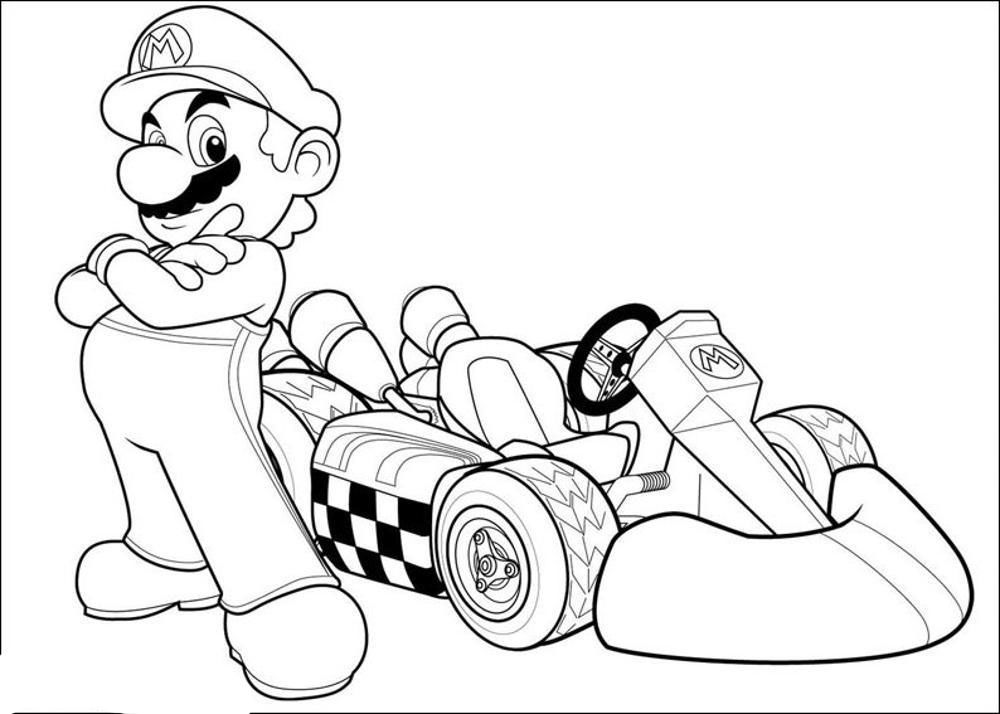 mario kart coloring pages  scout games  Pinterest