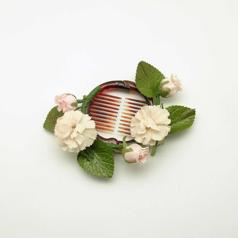 Vintage hair accessory holder - Vintage Ponytail Holder Bun Holder Hair Accessory Flowers