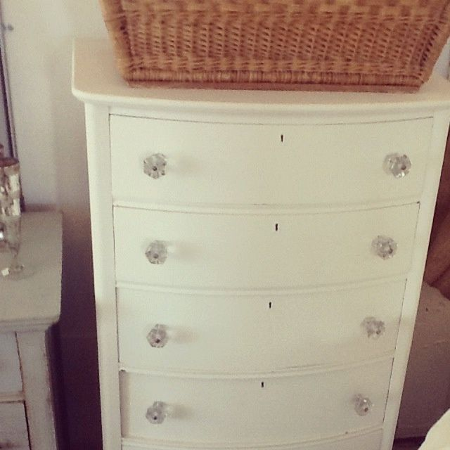 Find This Pin And More On Home Creamy White Dresser With Chunky Glass Knobs