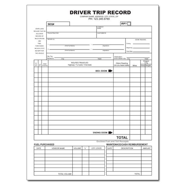 Truck Driver Trip Record Trucking Company Resource Invoice