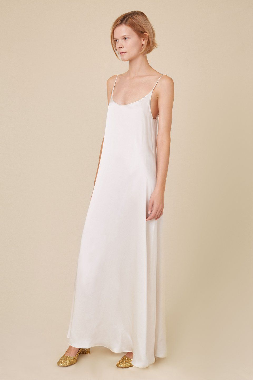 80d8beef6244 Italian silk charmeuse cream flowy slip dress. Relaxed, flowy fit. Thin  straps with scoop neckline. Floor length. (2 of 9)