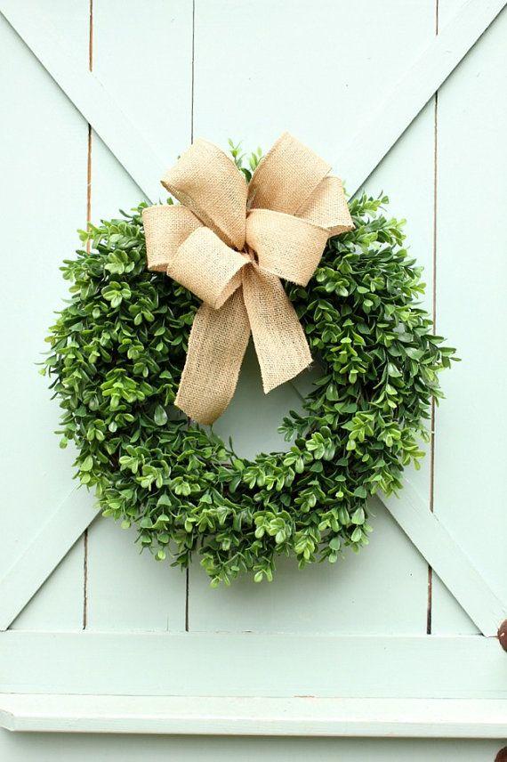 Boxwood Wreath ~ Burlap Wreath ~ Spring Wreath ~ Year Round Wreath ~ Front  Door Wreath