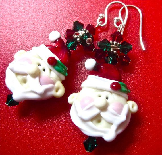 Lampwork Earrings Christmas Earrings Santa Claus by SeeMyJewelry