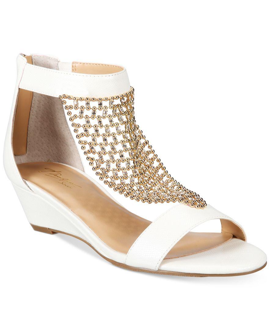fa214c8907b Thalia Sodi Tibby Gold-Mesh Embellished Wedge Sandals