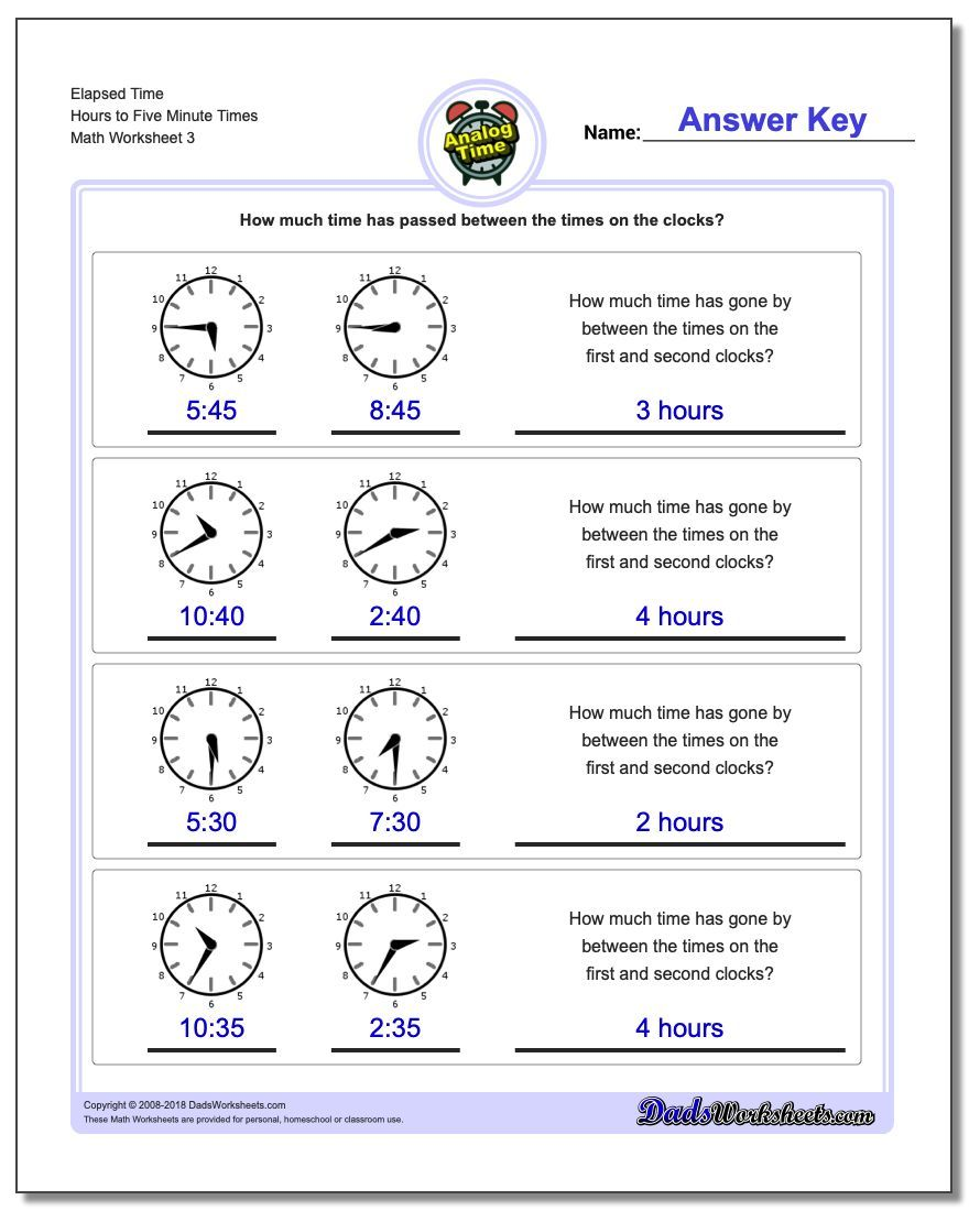 Elapsed Time Hours To Five Minute Times Worksheet Analog Elapsed Time Worksheet Elapsed Time Worksheets Time Worksheets Telling Time Worksheets