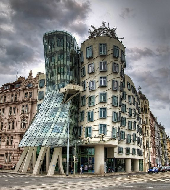 Ginger & Fred or the Dancing House, perhaps not the most beautiful one but certainly the most non-conventional building in Prague.