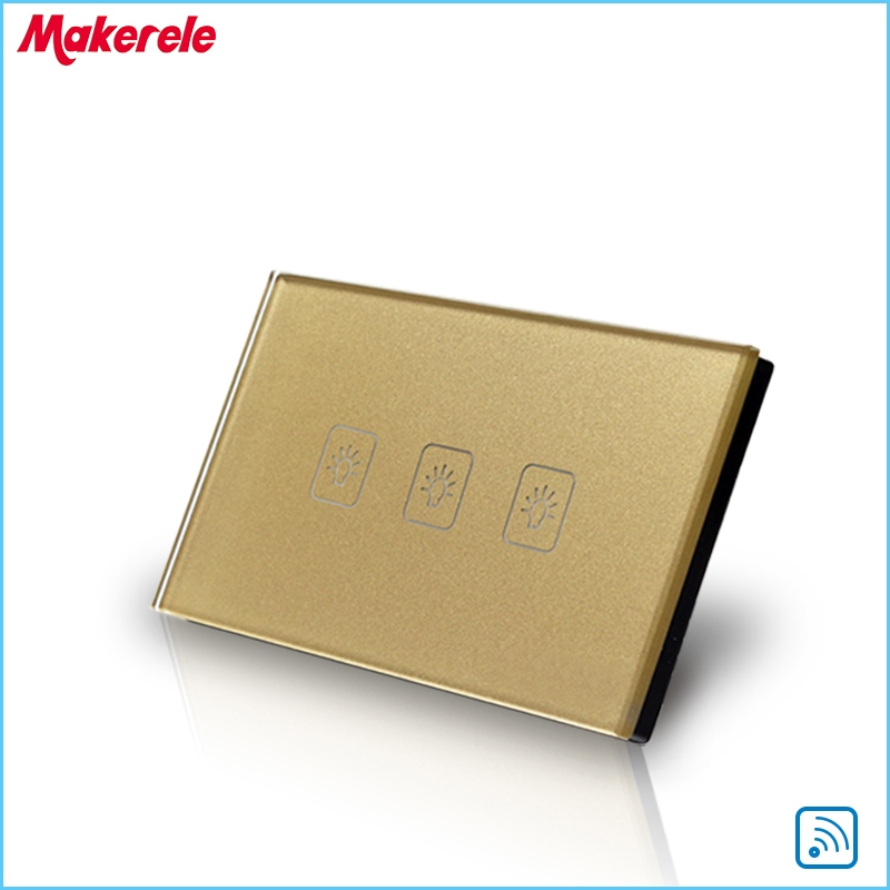 22.50$  Buy now - http://alio44.shopchina.info/go.php?t=32726043488 - Remote Switch Wall Light  Free Shipping 3 gang 1 way Remote Control Touch Switch US Standard Gold Crystal Glass Panel+LED 22.50$ #buymethat