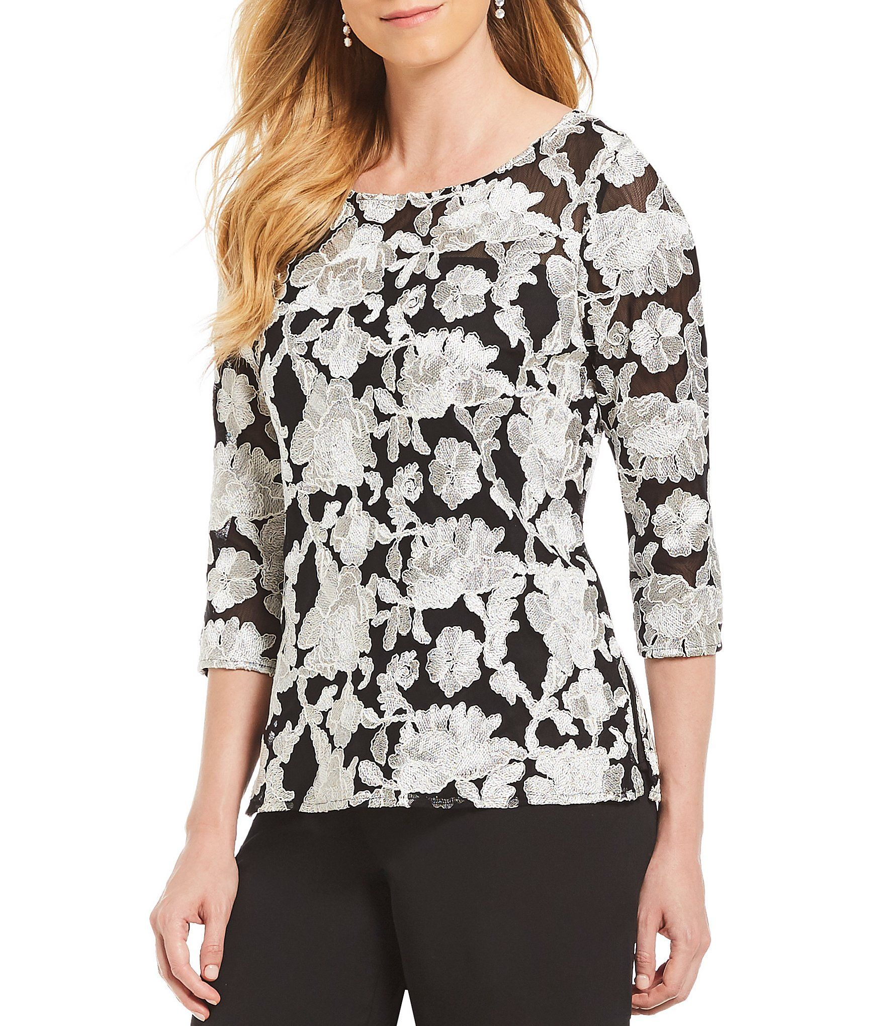 b895882c4c2f56 Shop for Alex Evenings 3/4 Embroidered Illusion Blouse at Dillards.com.  Visit Dillards.com to find clothing, accessories, shoes, cosmetics & more.