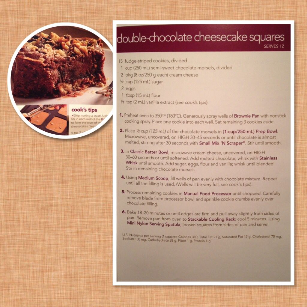 Double Chocolate Cheesecake Squares Using Brownie Pan Pampered