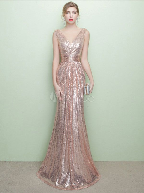 728058b4bc4e8 Sequin Evening Dresses Champagne Mermaid Formal Dress V Neck ...