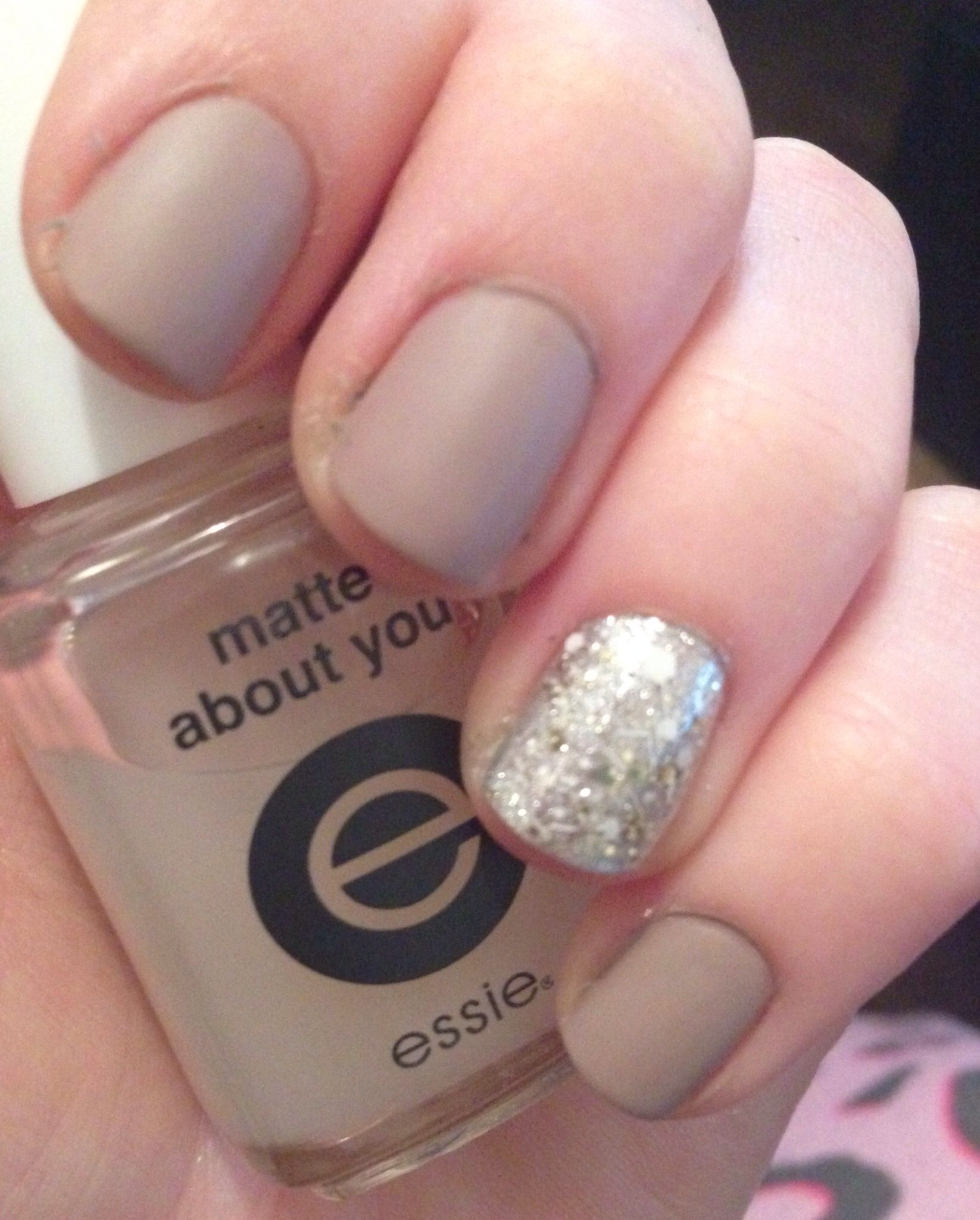 Matte beige and silver with glitter