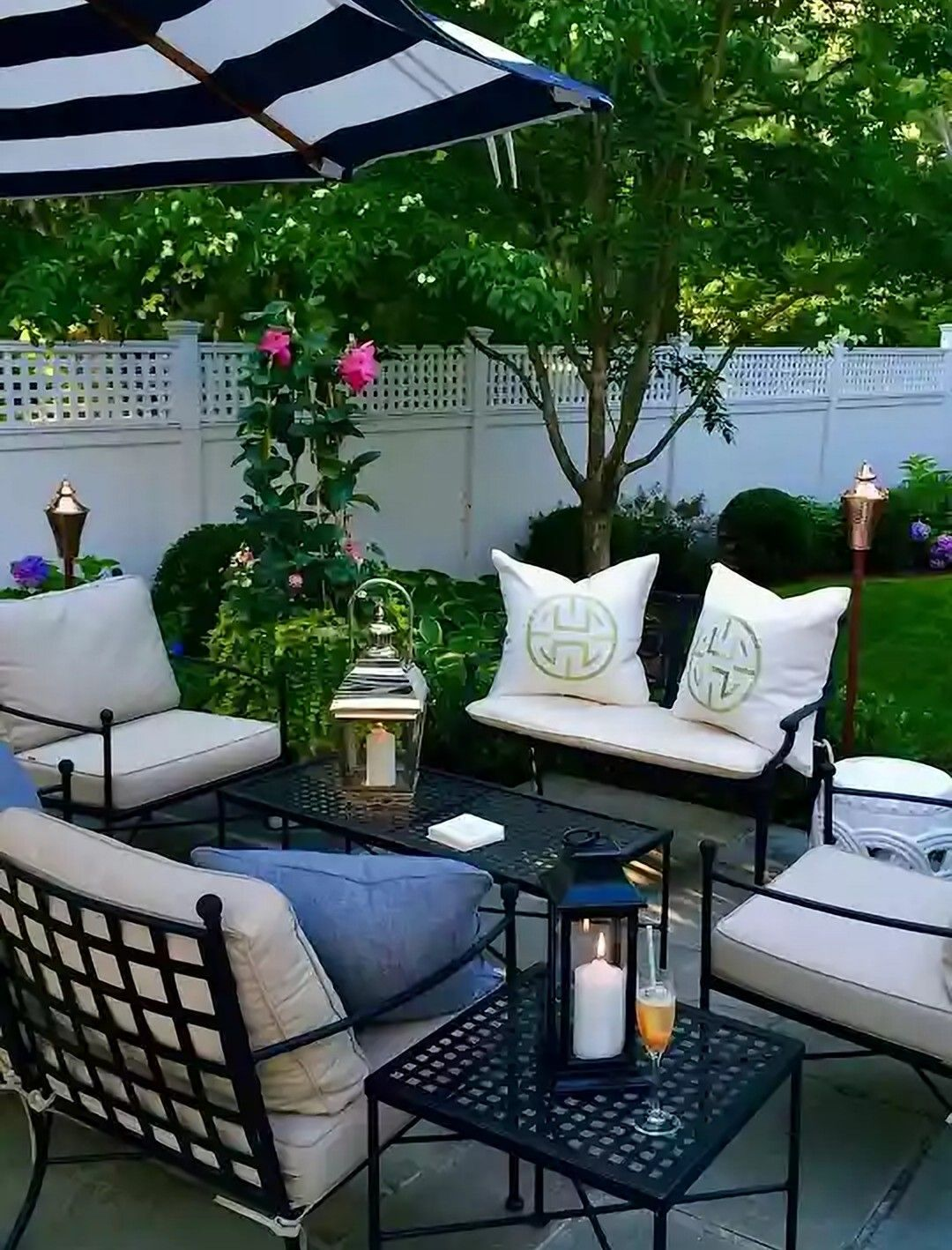 Classic Black White Steel Patio Furniture This Look Available At Amalfi Living Made In The Usa Outdoor Patio Decor Outdoor Patio Space Patio Decor