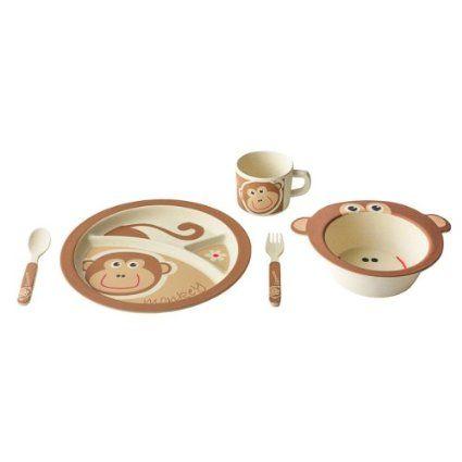 EcoBamboo Ware Kids Dinnerware Set, Monkey, 5 Piec...