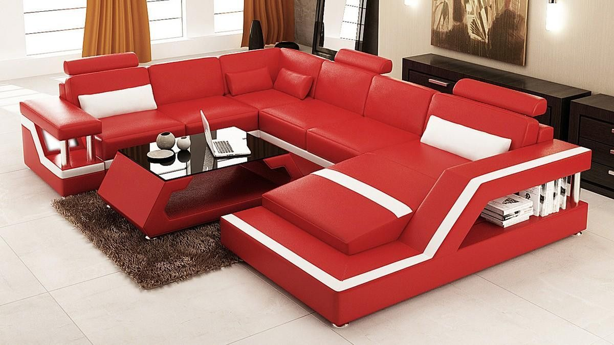 Divani Casa 6139 Modern Red And White Bonded Leather Sectional