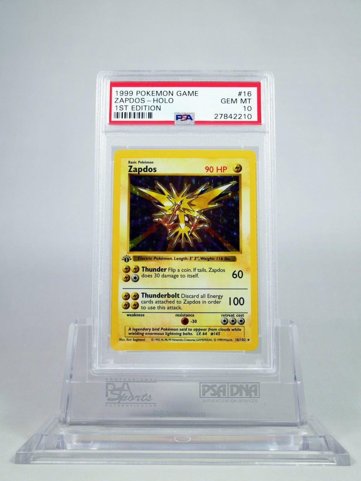 Psa 10 gem mint 1st edition base shadowless zapdos pokemon