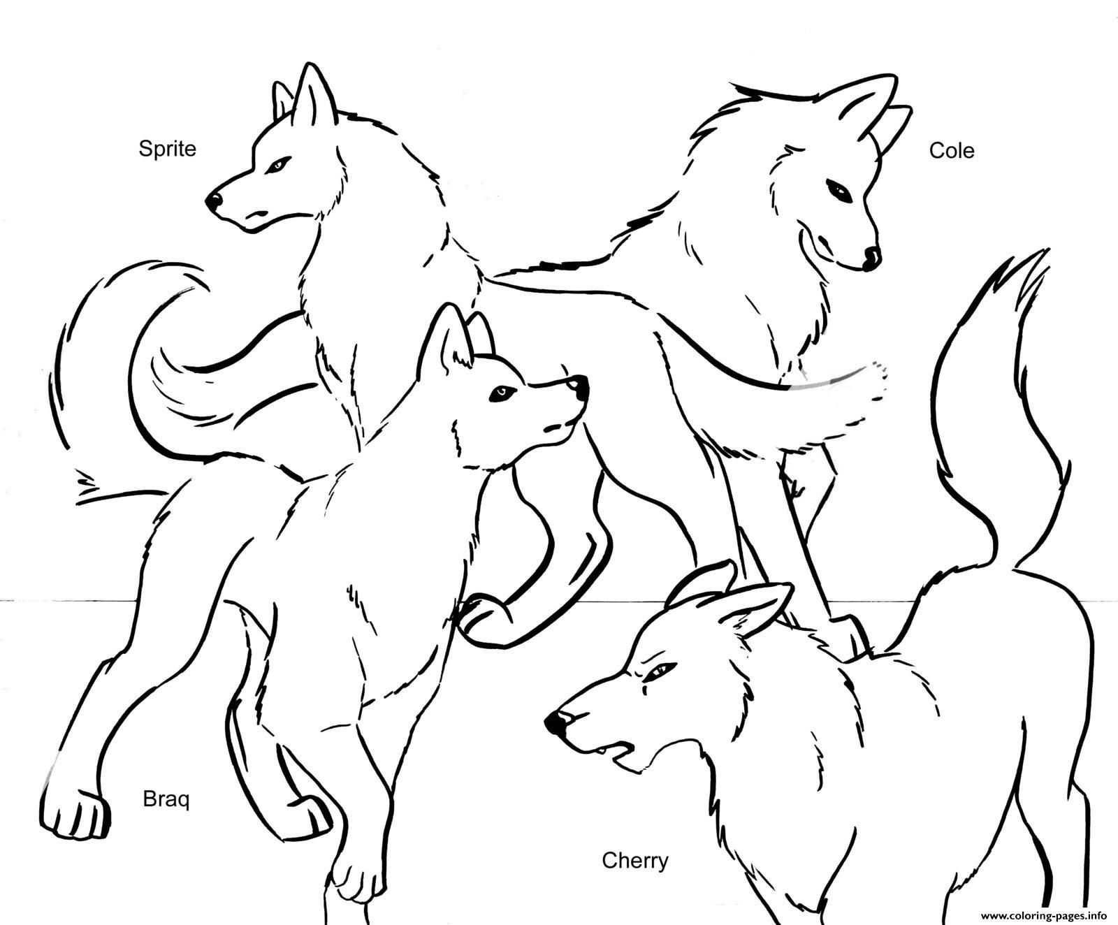Print wolf pack team coloring pages Anime wolf girl