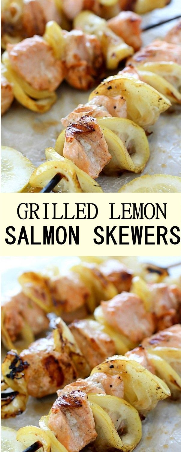 GRILLED LEMON SALMON SKEWERS #GRILLED #LEMON #SALMON #SKEWERS #salmonrecipes - #grilled #lemon #salmon #skewers - #new #searedsalmonrecipes