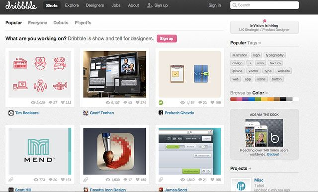 """Dribbble is a """"show and tell"""" for designers, where users can share small screenshots of their work"""