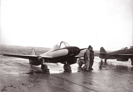 Ikarus S-451M Yugoslavian research jet at an airfield, 1952