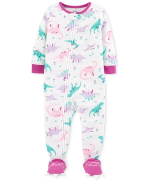 29db87ea3 Carter s Baby Girls Dinosaur-Print Footed Pajamas - White 12 months ...